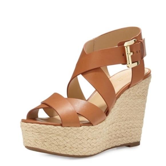 16b28f7a60 MICHAEL Michael Kors Shoes | Michael Kors Leather Celia Wedge Sandal ...